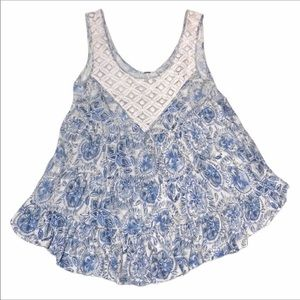 Free People UO Floral Lace Tank Top Size S